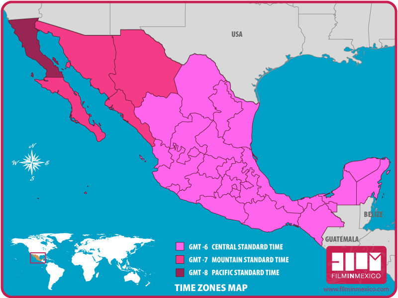 Timezones Film In Mexico - Us daylight savings time map